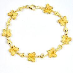 6.62cts white australian opal (lab) 925 silver 14k gold bracelet a62034 c15491