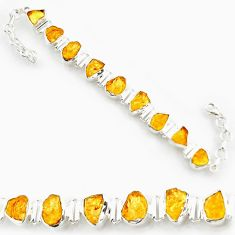 42.00cts yellow citrine rough 925 sterling silver tennis bracelet jewelry d45841