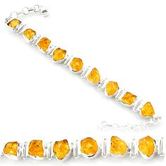 41.47cts yellow citrine rough 925 sterling silver tennis bracelet jewelry d45842