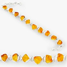 41.56cts yellow citrine rough 925 sterling silver tennis bracelet jewelry r27567