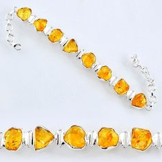 48.15cts yellow citrine rough 925 sterling silver tennis bracelet jewelry r61768