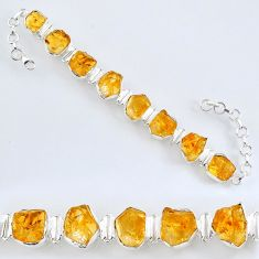 60.65cts yellow citrine rough 925 sterling silver tennis bracelet jewelry r61770