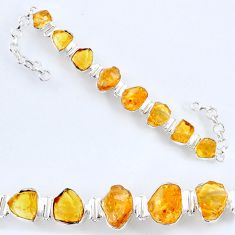 50.65cts yellow citrine rough 925 sterling silver tennis bracelet jewelry r61771
