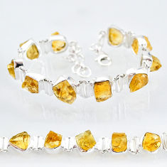 36.96cts yellow citrine raw 925 sterling silver tennis bracelet jewelry t6732