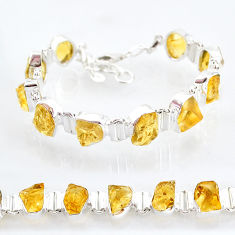 39.91cts yellow citrine raw 925 sterling silver tennis bracelet jewelry t6733