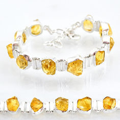 36.96cts yellow citrine raw 925 sterling silver tennis bracelet jewelry t6735