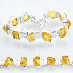 40.77cts yellow citrine raw 925 sterling silver tennis bracelet jewelry t6736