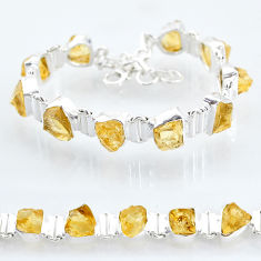 36.96cts yellow citrine raw 925 sterling silver tennis bracelet jewelry t6737