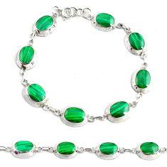 6.89gms malachite (pilot's stone) enamel 925 silver tennis bracelet c4629