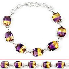 Multi color ametrine octagon 925 sterling silver link bracelet jewelry h70081