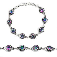 7.62cts multi color rainbow topaz 925 sterling silver tennis bracelet p48199