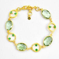26.20cts natural amethyst emerald 925 silver 14k gold tennis bracelet p87514