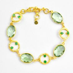 26.55cts natural amethyst emerald 925 silver 14k gold tennis bracelet p87515
