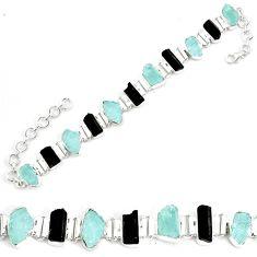 45.06cts natural aqua aquamarine rough 925 silver tennis bracelet p35642