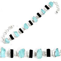 46.60cts natural aqua aquamarine rough 925 silver tennis bracelet p35643