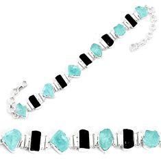 47.59cts natural aqua aquamarine rough 925 silver tennis bracelet p35657