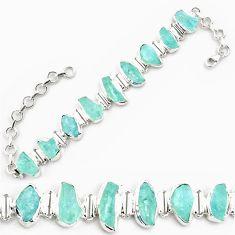 44.90cts natural aqua aquamarine rough 925 silver tennis bracelet p69041