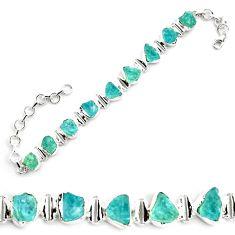 36.67cts natural aqua aquamarine rough 925 silver tennis bracelet p70761