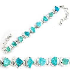 38.99cts natural aqua aquamarine rough 925 silver tennis bracelet p70762