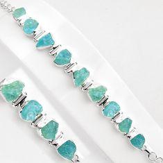 39.48cts natural aqua aquamarine rough 925 silver tennis bracelet p89034
