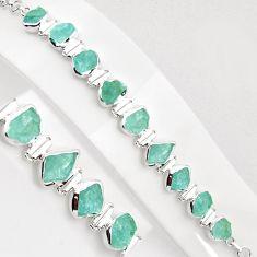 35.38cts natural aqua aquamarine rough 925 silver tennis bracelet p89035