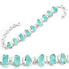43.76cts natural aqua aquamarine rough 925 sterling silver bracelet p69042