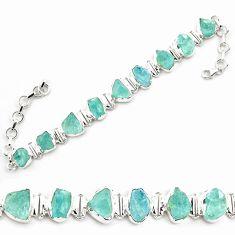 35.83cts natural aqua aquamarine rough sterling silver tennis bracelet p69043