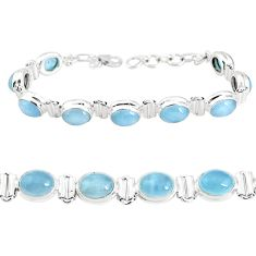 30.07cts natural aqua chalcedony 925 sterling silver tennis bracelet p39010