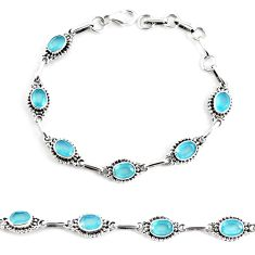 10.17cts natural aqua chalcedony 925 sterling silver tennis bracelet p65121