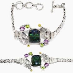 Natural black honduran matrix opal amethyst 925 sterling silver bracelet h90941