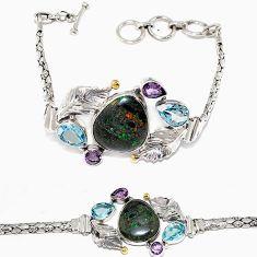 Natural black honduran matrix opal amethyst topaz 925 silver bracelet h90943