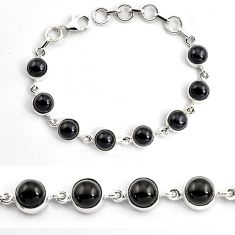21.48cts natural black onyx 925 sterling silver tennis bracelet jewelry p87817