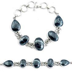 Natural black psilomelane (crown of silver) 925 silver tennis bracelet p46005