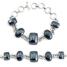 50.62cts natural black psilomelane 925 silver tennis bracelet jewelry p46001
