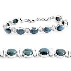 34.69cts natural black toad eye 925 sterling silver tennis bracelet p40031