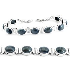 35.89cts natural black toad eye 925 sterling silver tennis bracelet p40032