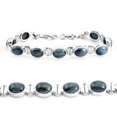 34.69cts natural black toad eye 925 sterling silver tennis bracelet p40034