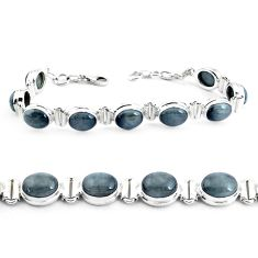 35.89cts natural black toad eye 925 sterling silver tennis bracelet p40035