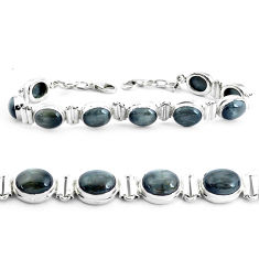 37.86cts natural black toad eye 925 sterling silver tennis bracelet p40038