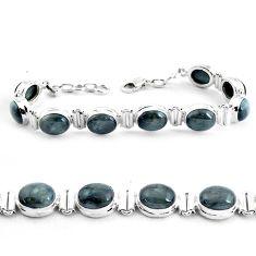 37.43cts natural black toad eye 925 sterling silver tennis bracelet p40039