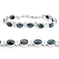 37.86cts natural black toad eye 925 sterling silver tennis bracelet p40040