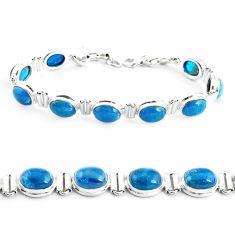 39.31cts natural blue apatite (madagascar) 925 silver tennis bracelet p40002