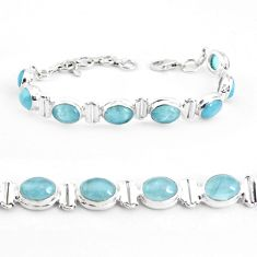26.06cts natural blue aquamarine 925 sterling silver tennis bracelet p40003