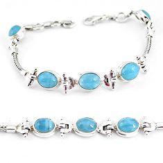 16.93cts natural blue aquamarine 925 sterling silver tennis bracelet p54761