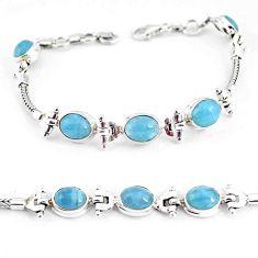16.98cts natural blue aquamarine 925 sterling silver tennis bracelet p54767