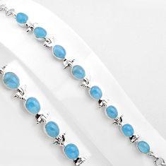 24.74cts natural blue aquamarine 925 sterling silver tennis bracelet p89042