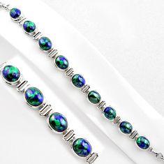 38.72cts natural blue azurite malachite 925 silver tennis bracelet p89054