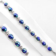 37.43cts natural blue azurite malachite 925 silver tennis bracelet p89055