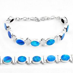 22.59cts natural blue doublet opal australian 925 silver tennis bracelet p48043