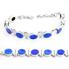22.62cts natural blue doublet opal australian 925 silver tennis bracelet p48046